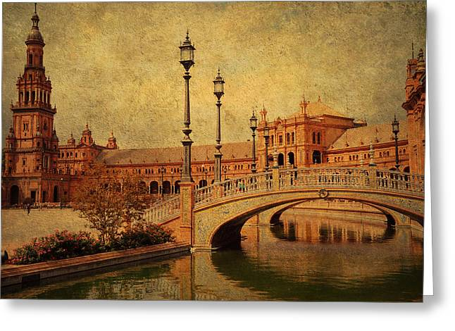 Historical Buildings Greeting Cards - Plaza de Espana 9. Seville Greeting Card by Jenny Rainbow