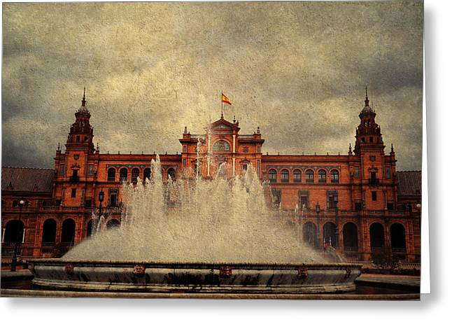Historical Buildings Greeting Cards - Plaza de Espana. Seville Greeting Card by Jenny Rainbow