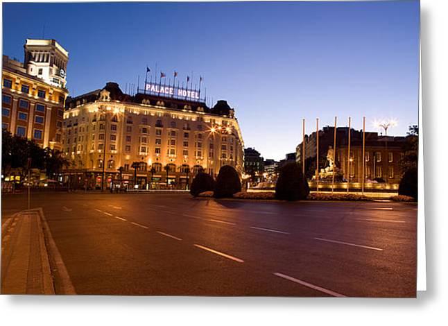Palace Hotel Greeting Cards - Plaza De Neptuno And Palace Hotel Greeting Card by Panoramic Images