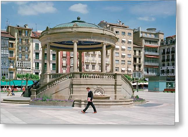 Man Looking Down Greeting Cards - Plaza Del Castillo, Pamplona, Spain Greeting Card by Panoramic Images