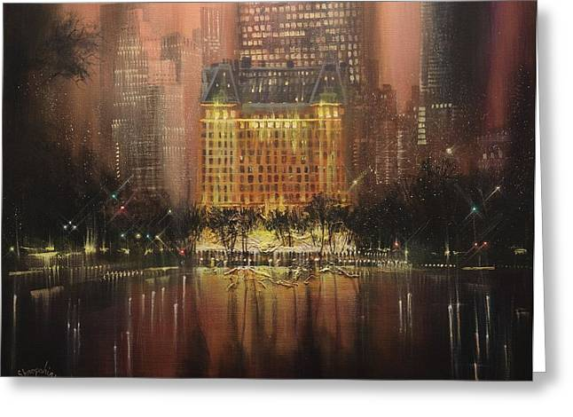 Park Scene Paintings Greeting Cards - Plaza Hotel New York City Greeting Card by Tom Shropshire