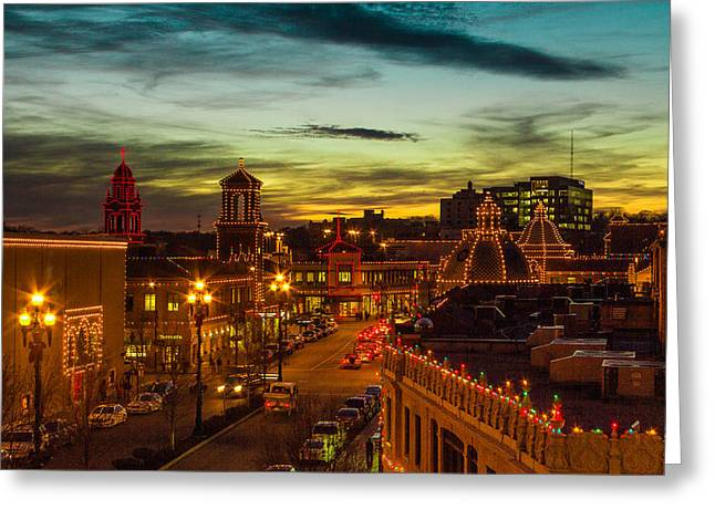 Plaza Lights At Sunset Greeting Card by Steven Bateson