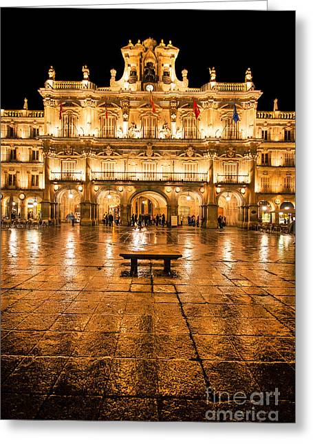 Wet Greeting Cards - Plaza Mayor in Salamanca Greeting Card by JR Photography