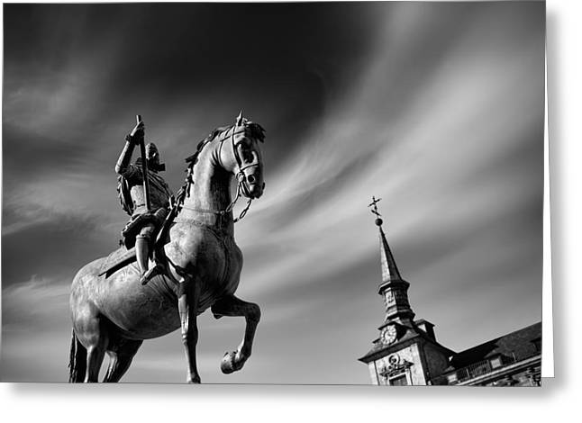 Historic Statue Greeting Cards - Plaza Mayor - Madrid Greeting Card by Rod McLean