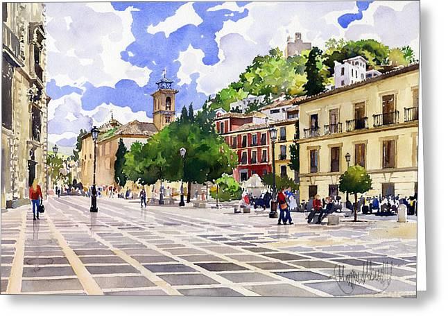 Plaza Nueva And Santa Ana Church Granada Greeting Card by Margaret Merry