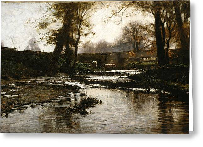 Steele Paintings Greeting Cards - Pleasant Run Greeting Card by Theodore Clement Steele
