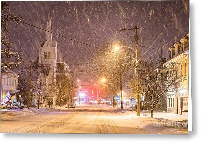 New England Snow Scene Greeting Cards - Pleasant Street Snow Greeting Card by Benjamin Williamson