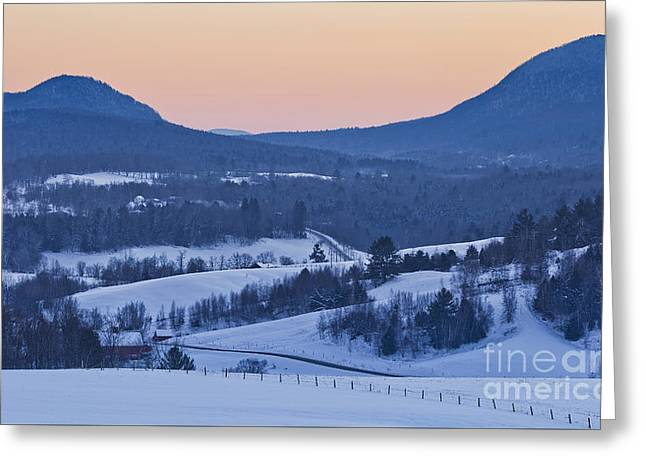 Recently Sold -  - Mountain Valley Greeting Cards - Pleasant Valley Winter Twilight Greeting Card by Alan L Graham