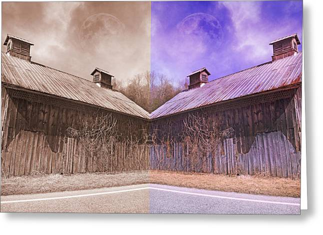 Foggy Day Greeting Cards - Pleasant View Country Barns Greeting Card by Betsy C  Knapp