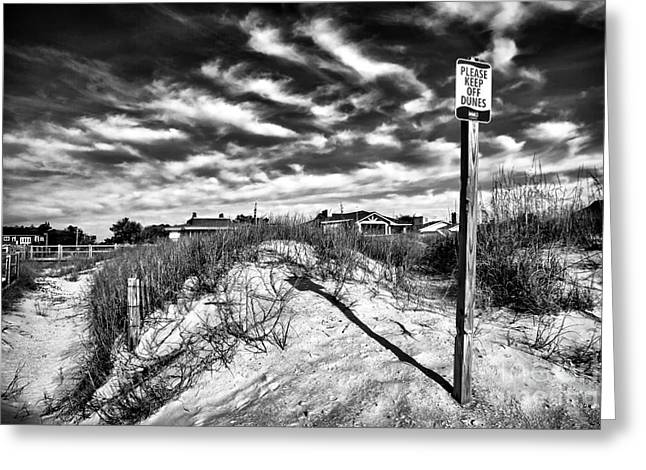 Please Keep Off Dunes Greeting Card by John Rizzuto