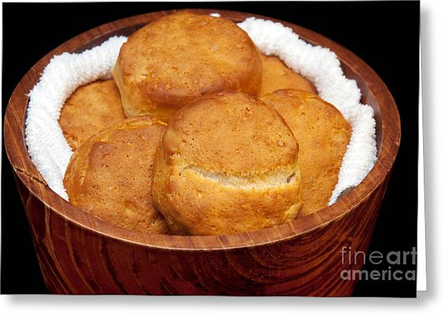 Wooden Bowls Photographs Greeting Cards - Please Pass The Biscuits Greeting Card by Andee Design