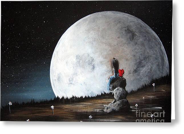 Sad Moon Greeting Cards - Please Tell Him We Say Hi by Shawna Erback Greeting Card by Shawna Erback