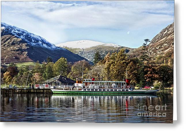 Wainwright Greeting Cards - Pleasure cruiser on Ullswater Greeting Card by Linsey Williams