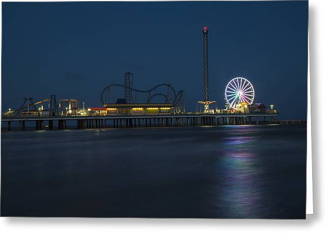 Pleasure Pier At Night  Greeting Card by John McGraw