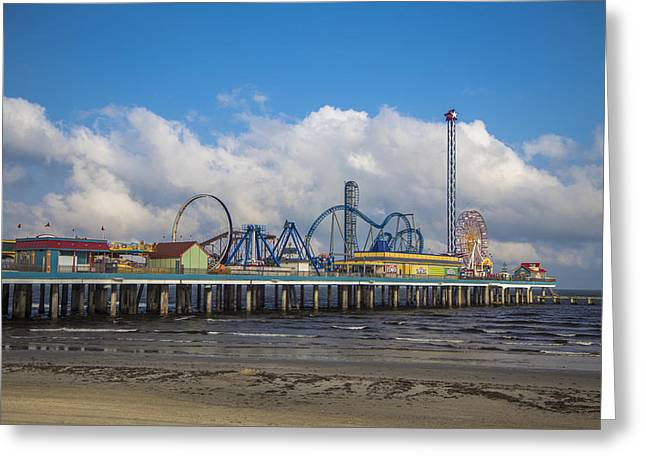 Galveston Greeting Cards - Pleasure Pier on a cloudy day Greeting Card by John McGraw