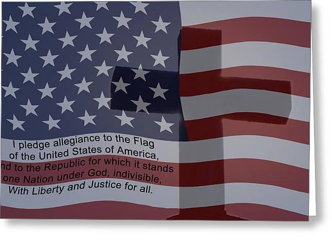 Pledge Of Allegiance Greeting Card by Ernie Echols
