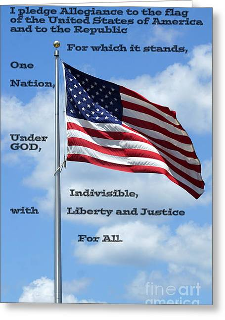 Recently Sold -  - 4th July Greeting Cards - Pledge of Allegiance Greeting Card by Paul  Wilford