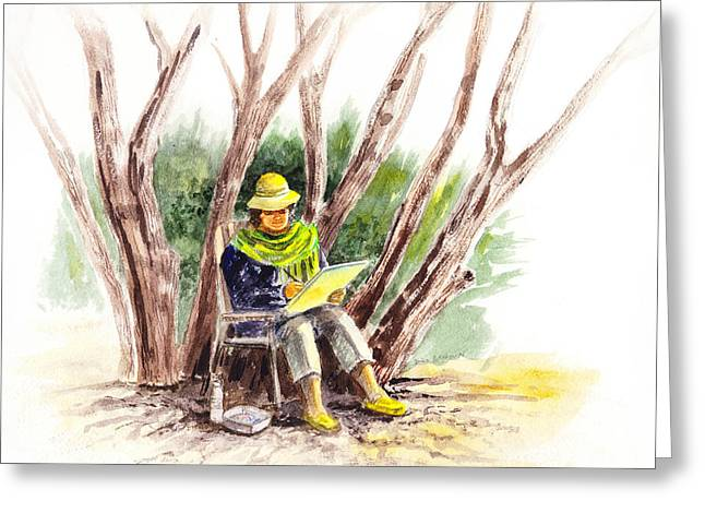 Processes Greeting Cards - Plein Air Artist At Work Greeting Card by Irina Sztukowski