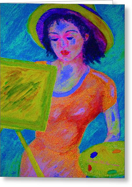 Creative People Greeting Cards - Plein Air Artist  IN THE FLOW Greeting Card by Glenna McRae