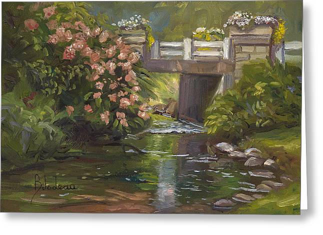Plein Air - Bridge And Stream Greeting Card by Lucie Bilodeau