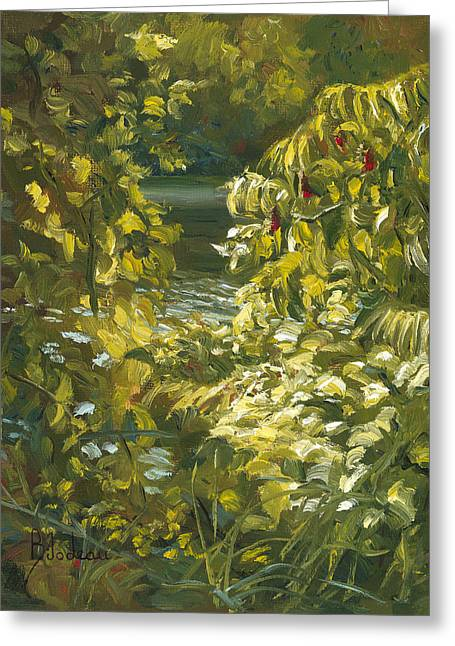 Plein Air - By The Chicopee River Greeting Card by Lucie Bilodeau