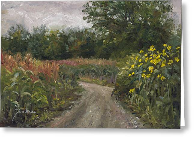 Dirt Road Greeting Cards - Plein Air - Corn Field Greeting Card by Lucie Bilodeau