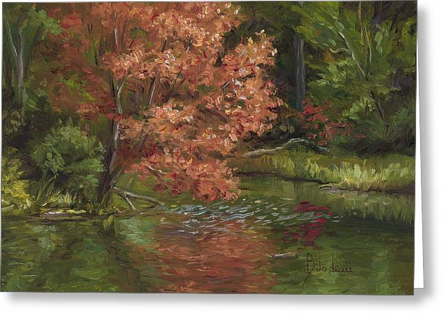 Plein Air - Red Tree Greeting Card by Lucie Bilodeau
