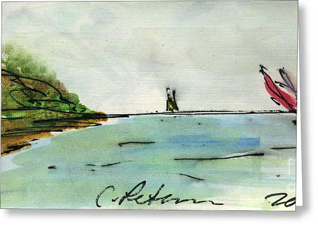 Plein Air Sketchbook. 2011 Sailboats Lean Into The Wind As They Race Greeting Card by Cathy Peterson