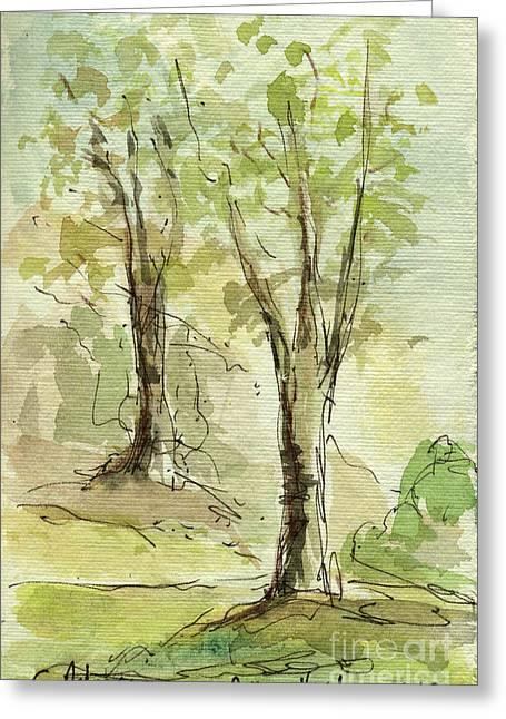 Sketchbook Greeting Cards - Plein Air Sketchbook. Arroyo Verde Park Ventura June 23. 2012. Two Trees on a Hill Greeting Card by Cathy Peterson