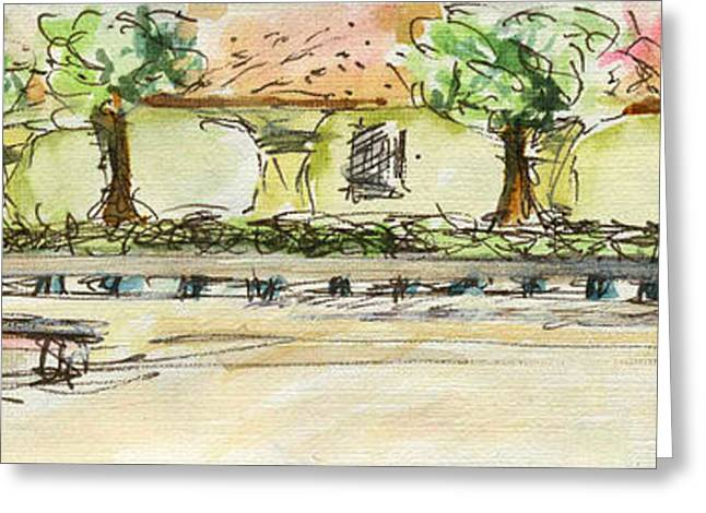 Pen And Ink Drawing Greeting Cards - Plein Air Sketchbook. Camarillo California 2011. A pavillion with benches and potted flowers Greeting Card by Cathy Peterson