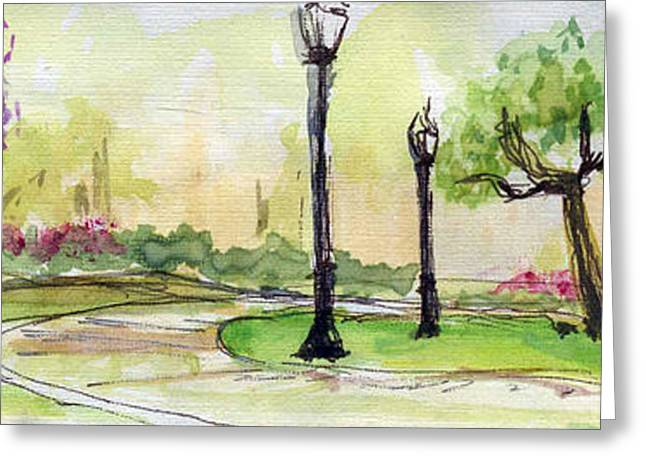 Sketchbook Greeting Cards - Plein Air Sketchbook. Camarillo California 2011.  Constitution Park a walk along the trees Greeting Card by Cathy Peterson