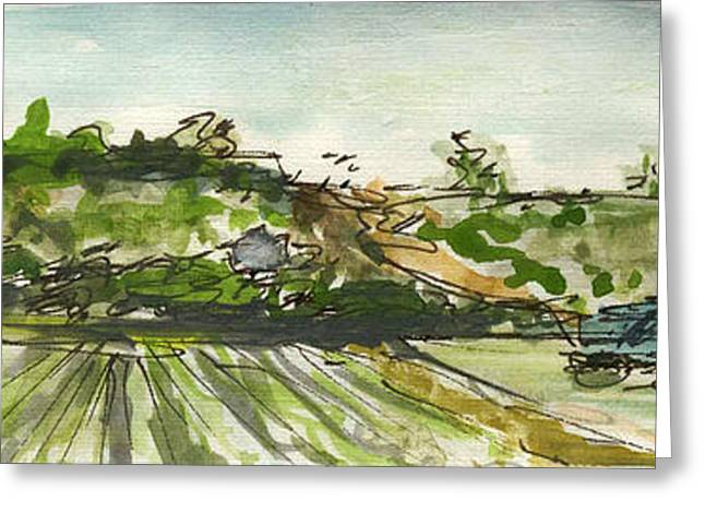 Sketchbook Greeting Cards - Plein Air Sketchbook. Camarillo California 2011. Farm Fields behind the new Library Greeting Card by Cathy Peterson