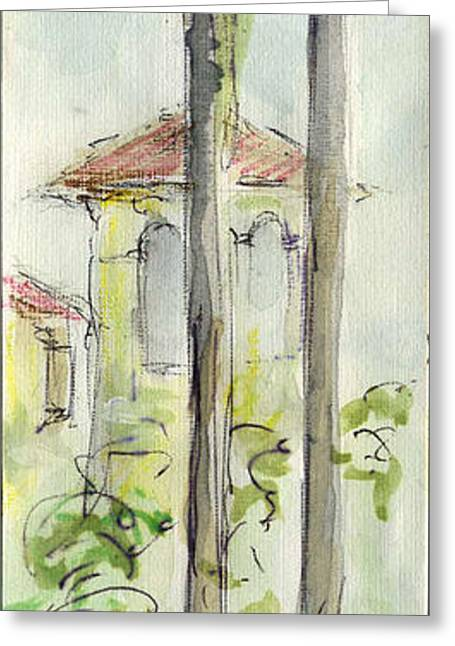 Sketchbook Greeting Cards - Plein Air Sketchbook. Camarillo California 2011. Tall palms in the courtyard beyond the fountain. Greeting Card by Cathy Peteron