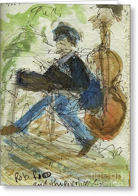 Recently Sold -  - Pen And Paper Greeting Cards - Plein Air Sketchbook. Olivas Adobe Ventura California Concert 9.3.2011. Rob Rio and the Revolvers Greeting Card by Cathy Peterson
