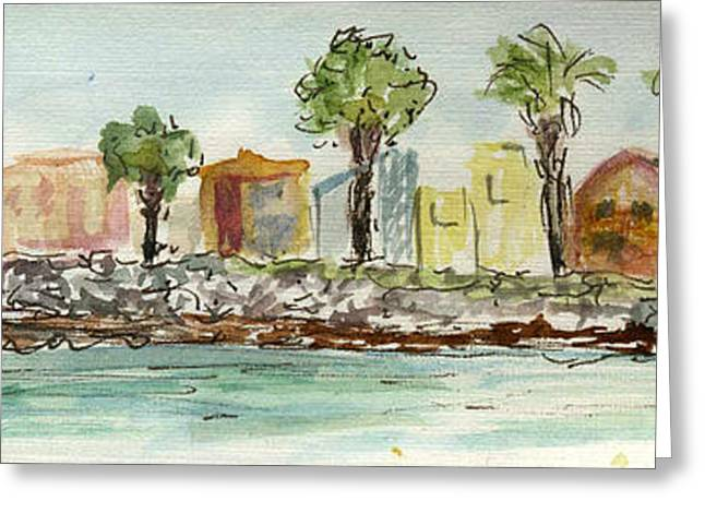 Recently Sold -  - Ventura California Greeting Cards - Plein Air Sketchbook. Oxnard California 2011. Entrance to the Harbor from the North Jetty Greeting Card by Cathy Peterson