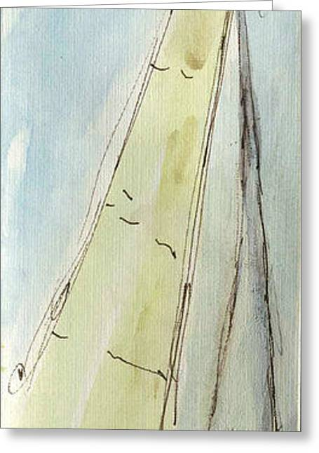 Wind In The Sails Greeting Cards - Plein Air Sketchbook. Oxnard California 2011.  In the Harbor a Sailboat Sails Full of Wind Greeting Card by Cathy Peterson