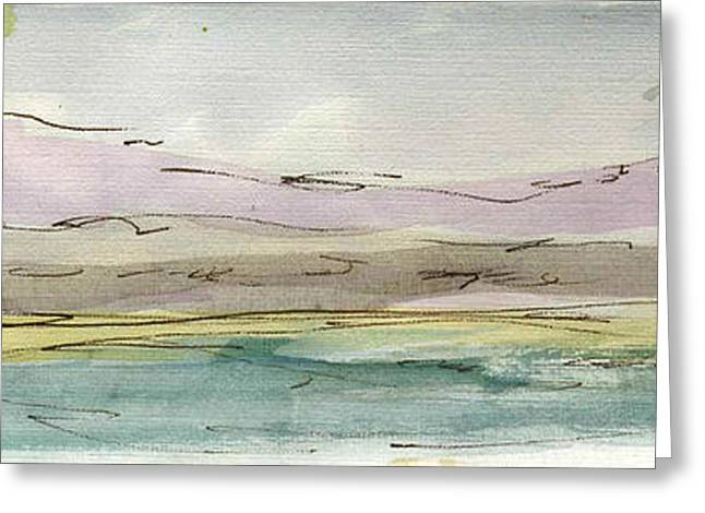 Printmaking Greeting Cards - Plein Air Sketchbook. Oxnard California 2011. South Hills Beyond the Harbor  Greeting Card by Cathy Peterson