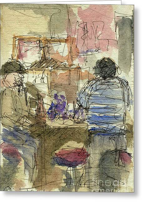 Plein Air Sketchbook. Stix Billiard Room. Ventura California. June 30. 2012. Boys At The Bar Greeting Card by Cathy Peterson