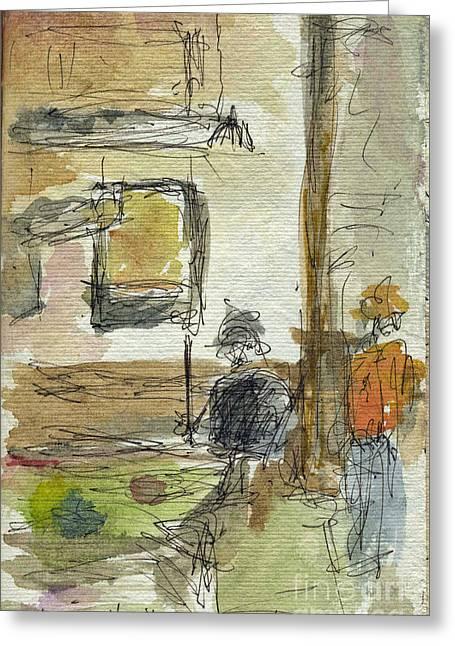 Sketchbook Greeting Cards - Plein Air Sketchbook. Stix Billiard Room. Ventura California. June 30. 2012. Pool Hall Boys. Greeting Card by Cathy Peterson