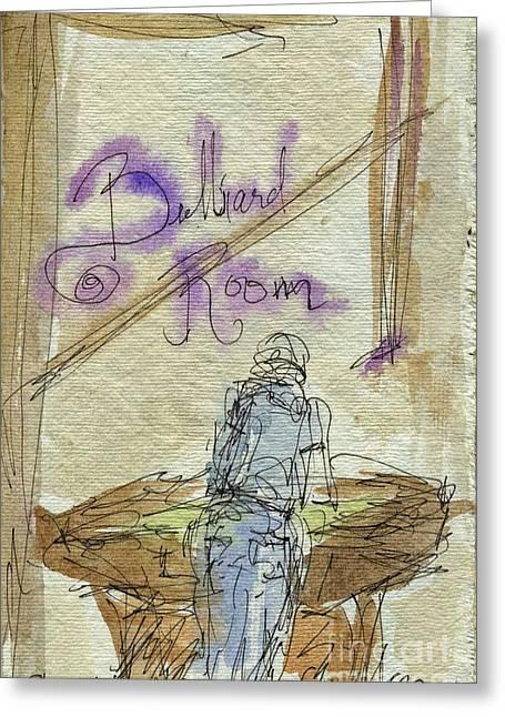 Sketchbook Greeting Cards - Plein Air Sketchbook. Stix Billiard Room. Ventura California. June 30. 2012. Shooting Pool Greeting Card by Cathy Peterson