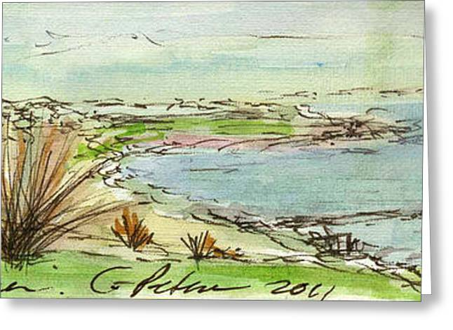 Printmaking Greeting Cards - Plein Air Sketchbook. Ventura California 2011. Overlooking Pierpont Bay the Pier from Grant Park Greeting Card by Cathy Peterson