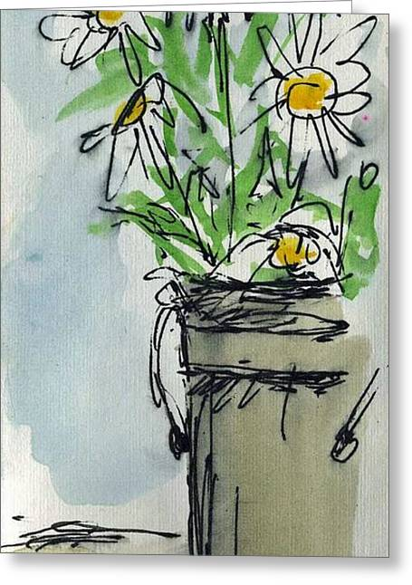 Buckets Of Paint Greeting Cards - Plein Air Sketchbook. Ventura California 2011.  Tall bucket of daisies from my backyard Greeting Card by Cathy Peterson