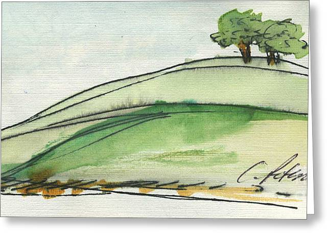 Colored Pencil On Canvas Greeting Cards - Plein Air Sketchbook. Ventura California 2011.  Two Trees on a Hill Greeting Card by Cathy Peterson