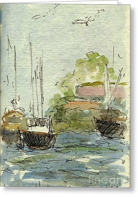 Sketchbook Greeting Cards - Plein Air Sketchbook. Ventura Harbor. June 29. 2012. Down At The Docks 2 Greeting Card by Cathy Peterson