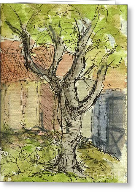 At Work Greeting Cards - Plein Air Sketchbook. Ventura Harbor. June 29. 2012. Tree at the Petite Cafe Greeting Card by Cathy Peterson