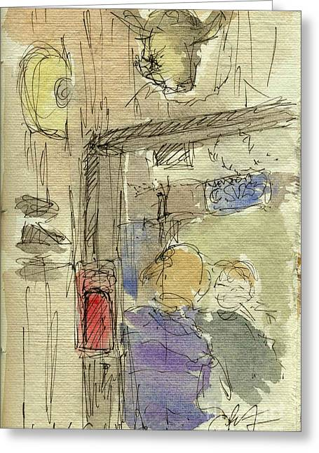Sketchbook Greeting Cards - Plein Air Sketchbook. Woodys Restaurant. Santa Barbara California. June 30. 2012. Portal Greeting Card by Cathy Peterson
