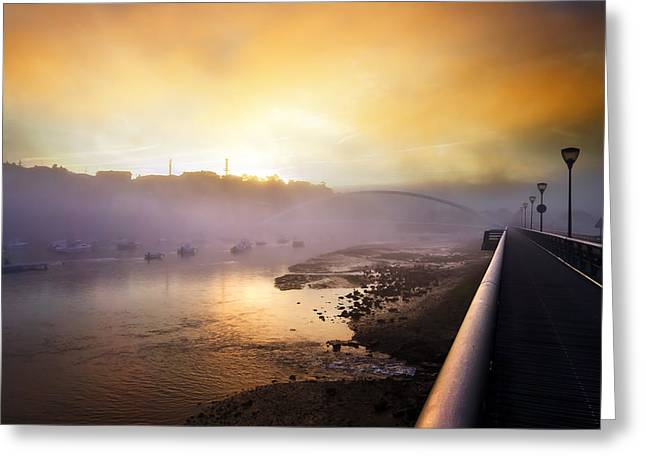 Pais Vasco Greeting Cards - Plentzia river and bridge at morning Greeting Card by Mikel Martinez de Osaba