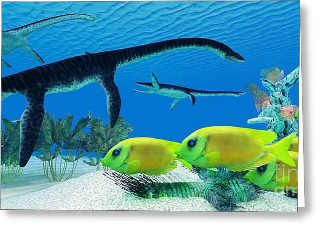 Reef Fish Digital Art Greeting Cards - Plesiosaurus Coral reef Greeting Card by Corey Ford