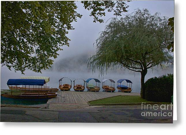 Bled Greeting Cards - Pletna Boats on Bled Lake Greeting Card by Crystal Nederman