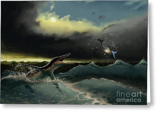 Fish Digital Art Greeting Cards - Pliosaurus Irgisensis Attacking A Shark Greeting Card by Yuriy Priymak